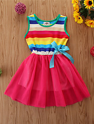 cheap -Toddler Little Girls' Dress Rainbow Rainbow Sleeveless Basic Dresses Children's Day Loose