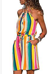 cheap -Women's A Line Dress - Color Block White Orange Blue S M L XL