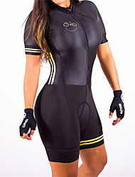 cheap -21Grams Women's Short Sleeve Triathlon Tri Suit Spandex Polyester Black / Yellow Bike Clothing Suit Breathable Quick Dry Ultraviolet Resistant Reflective Strips Sweat-wicking Sports Solid Color