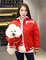 cheap -Dog Costume Coat Matching Outfits Winter Dog Clothes Warm Red Costume Bulldog Bichon Frise Schnauzer Cotton Stripes Quotes & Sayings Punk Casual / Sporty Women M S M L
