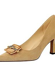 cheap -Women's Heels Chunky Heel Pointed Toe Suede Winter Black / Khaki