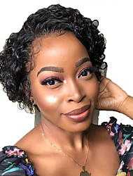 cheap -Human Hair Lace Front Wig Bob Short Bob Free Part style Brazilian Hair Curly Black Wig 130% Density with Baby Hair Natural Hairline For Black Women 100% Virgin 100% Hand Tied Women's Short Human Hair