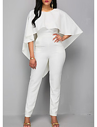 cheap -Jumpsuits Wedding Dresses Jewel Neck Ankle Length Polyester 3/4 Length Sleeve Romantic Plus Size Modern with Ruffles 2020