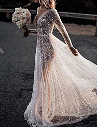 cheap -A-Line Wedding Dresses Bateau Neck Court Train Lace Tulle Polyester Long Sleeve Formal Boho Plus Size Illusion Sleeve with Lace Insert Appliques 2020