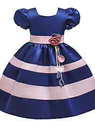 cheap -Ball Gown Knee Length Pageant Flower Girl Dresses - Polyester Short Sleeve Jewel Neck with Bow(s)