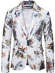 cheap -Men's Blazer Notch Lapel Polyester Black / White / Navy Blue
