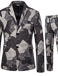 cheap -Men's Suits Notch Lapel Polyester Gray