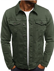cheap -Men's Daily Regular Jacket, Solid Colored Stand Long Sleeve Cotton Black / White / Army Green