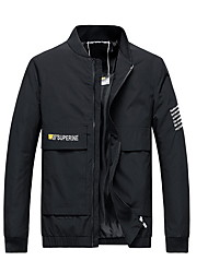 cheap -Men's Daily Fall & Winter Regular Jacket, Color Block Stand Long Sleeve Polyester Black / Yellow