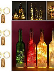 Недорогие -2 м бутылка вина гирлянда 20 светодиодов smd 0603 теплый белый / белый / красный креатив / cuttable / party 3 v 6 шт.