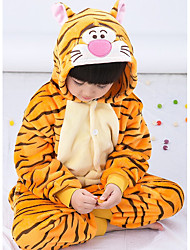 cheap -Kid's Kigurumi Pajamas Tiger Animal Onesie Pajamas Flannel Toison Orange Cosplay For Boys and Girls Animal Sleepwear Cartoon Festival / Holiday Costumes