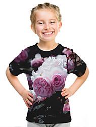 Недорогие -Дети Девочки Активный Уличный стиль Цветочный принт 3D С принтом С короткими рукавами Футболка Цвет радуги