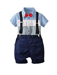 cheap -Kids Boys' Basic Christmas Home Print Print Short Sleeve Regular Regular Clothing Set Blue