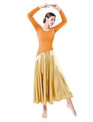olcso -Latin tánc Társastánc Latin salsa tánc Ruha Fémes Női Edzés Teljesítmény Hosszú ujj Természetes Spandex Poliészter