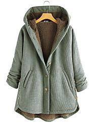 abordables -Femme Quotidien Hiver Normal Manteau, Rayé Capuche Manches Longues Coton Noir / Rouge / Vert