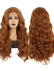cheap -Synthetic Lace Front Wig Body Wave Middle Part Lace Front Wig Long Brown Synthetic Hair 18-26 inch Women's Heat Resistant Synthetic Easy dressing Brown / Natural Hairline