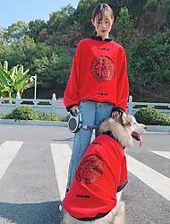 Недорогие -Собаки Коты Костюмы Толстовка Соответствующие наряды Зима Одежда для собак Теплый Красный Костюм аляскинского маламута золотистого ретривера Бульдог Плюш Контрастных цветов Слова / выражения