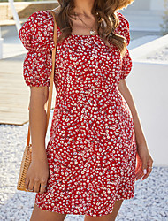 cheap -Women's / Ladies Date Street Casual / Daily Lantern Sleeve A Line Dress - Floral Floral Print Daisy, Printing Red S M L XL