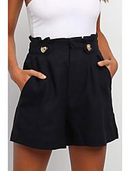 cheap -Women's Basic Shorts Pants - Solid Colored Classic Black Green Beige S M L