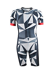 cheap -21Grams Men's Short Sleeve Triathlon Tri Suit Spandex Polyester Blue / White Bike Clothing Suit UV Resistant Breathable Quick Dry Sweat-wicking Sports Graphic Mountain Bike MTB Road Bike Cycling