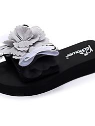 cheap -Women's Slippers & Flip-Flops Flat Heel Open Toe Bowknot / Satin Flower Polyester Casual / Sweet Walking Shoes Summer Black / Light Yellow / Pink