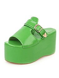 cheap -Women's Sandals Creepers Open Toe Buckle PU Vintage / Minimalism Spring & Summer Black / Green / Blue / Party & Evening