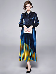 cheap -The Great Gatsby Retro Vintage 1950s Elegant Skirt Blouse / Shirt Outfits Women's Costume Blue Vintage Cosplay Work Office & Career Long Sleeve