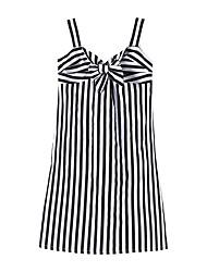 cheap -Kids Little Girls' Dress Striped Ruched Black Knee-length Sleeveless Sweet Dresses Children's Day Regular Fit
