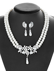 cheap -Women's Pearl Bridal Jewelry Sets Pearl Necklace Transparent Flower Elegant Vintage Pearl Earrings Jewelry White For Party Wedding 1 set