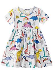 Недорогие -Дети (1-4 лет) Девочки Контрастных цветов С короткими рукавами Выше колена Платье Цвет радуги