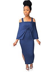 cheap -Women's Set - Solid Colored Dress