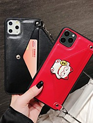 cheap -Lucky Cat Case For Apple iPhone 11 / iPhone 8 / iPhone 7 / iPhone 6 Max Card Holder / Shockproof / Dustproof Back Cover Animal / Glitter Shine PC with Stand and Same Lanyard