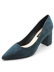 cheap -Women's Heels Chunky Heel Pointed Toe Suede Spring & Summer Black / Dark Blue