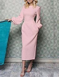 cheap -Sheath / Column Mother of the Bride Dress Elegant Jewel Neck Ankle Length Polyester Long Sleeve with Ruching 2020 Mother of the groom dresses
