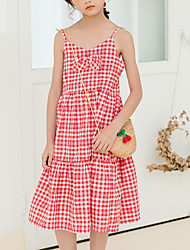cheap -Kids Girls' Cute Boho Plaid Bow Sleeveless Midi Dress Red