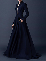 cheap -A-Line V Neck Sweep / Brush Train Satin Long Sleeve Formal Plus Size / Black Wedding Dresses with Draping 2020