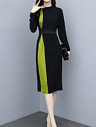 cheap -Women's Sheath Dress - Color Block Black S M L XL