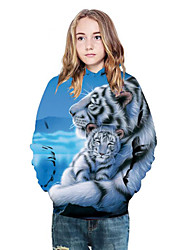 cheap -Kids Girls' Active Punk & Gothic Color Block 3D Animal Long Sleeve Hoodie & Sweatshirt Light Blue