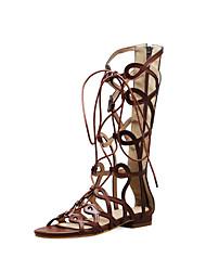 cheap -Women's Sandals Flat Heel Open Toe PU Casual / Preppy Spring & Summer Black / Brown / Khaki