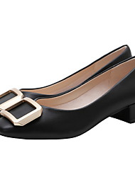 cheap -Women's Heels Low Heel Round Toe PU Spring & Summer Black / Almond / White