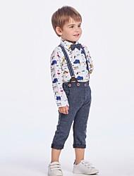 cheap -Kids Boys' Basic Print Long Sleeve Clothing Set White