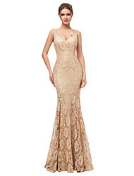 cheap -Mermaid / Trumpet Spaghetti Strap Sweep / Brush Train Lace Elegant / Minimalist Formal Evening Dress with 2020