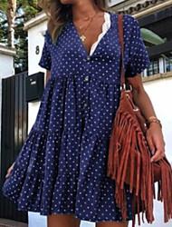 cheap -Women's Elegant Swing Dress - Polka Dot Yellow Blue Red S M L XL