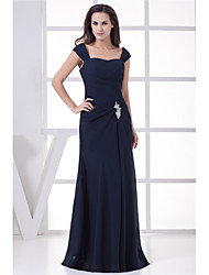 cheap -Sheath / Column Elegant Formal Evening Dress Scoop Neck Sleeveless Floor Length Chiffon with Ruched Beading 2020