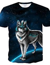 cheap -3D Boys Print Animal T-Shirt Summer Fashion Men's Outfit Tops O-Neck Short Sleeve Wolf T-Shirt Plus Size
