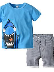 cheap -Kids Boys' Basic Christmas Home Deer Print Cartoon Print Short Sleeve Regular Regular Clothing Set Blue