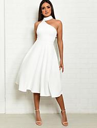 cheap -Women's Elegant Sheath Dress - Solid Colored White Red S M L XL