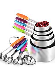 Недорогие -Мерные ложки из нержавеющей стали чашки совок пищевой мерный ложка набор силиконовая ручка кухня измерительный инструмент