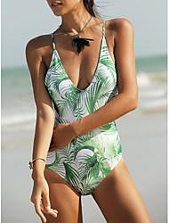abordables -Femme Basique Vert Une-pièce Maillots de Bain - Fleur Tropical Lacet S M L Vert