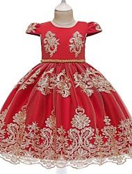 cheap -Kids Toddler Girls' Flower Sweet Floral Beaded Embroidered Short Sleeve Knee-length Dress Red